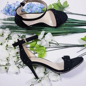 Marc Fisher Black Suede heels Sandals Stones  Size